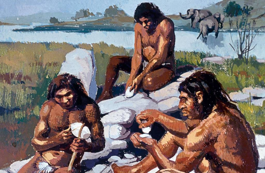 Neanderthals with tools