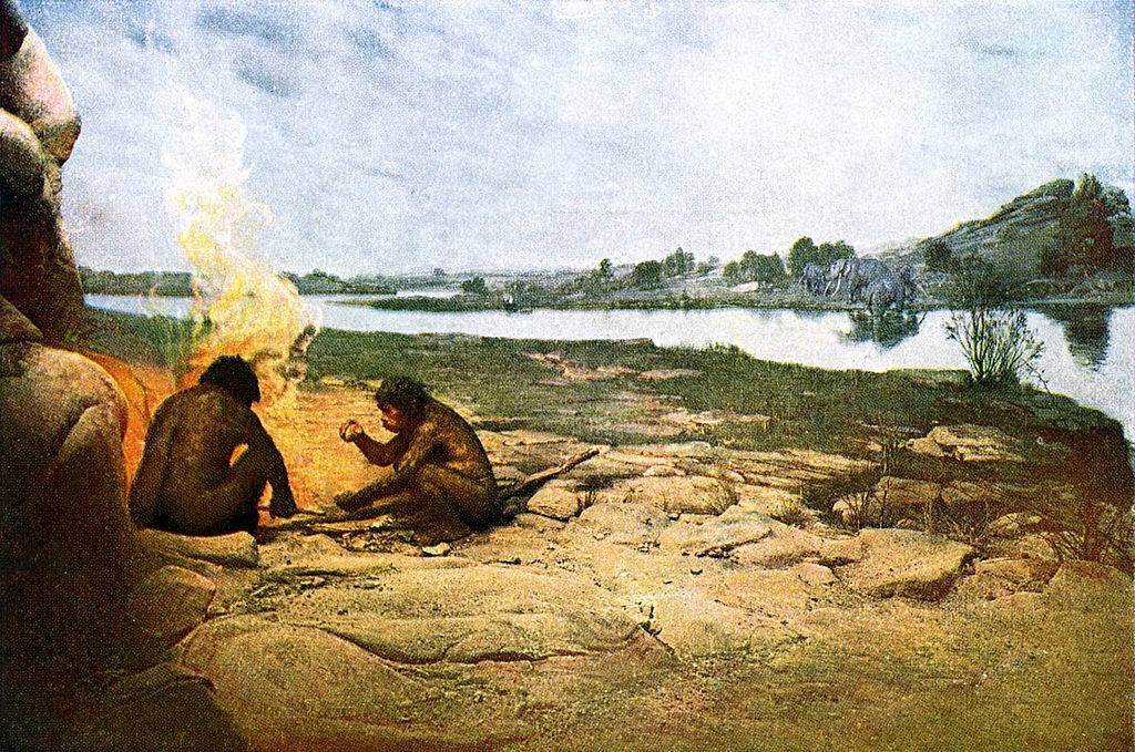 Prehistoric men by fire