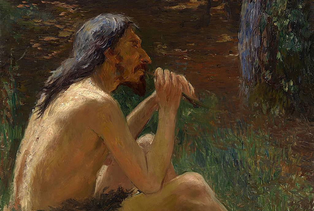 Painting of a caveman