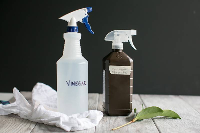 DIY disinfect bottles of vinegar and hydrogen peroxide sit on a table.