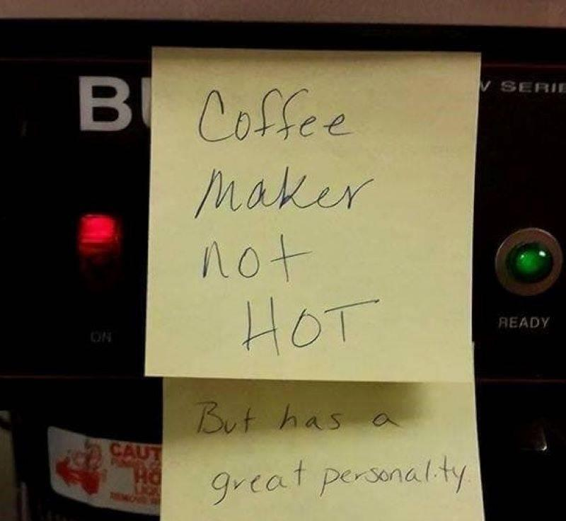 Simple Post-It Note Turning Into A Tinder Profile For The Coffee Maker