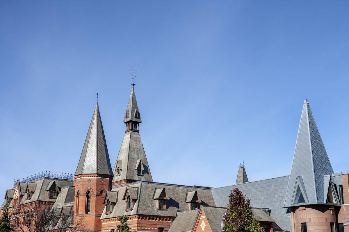 The roof of Sage Hall is seen at Cornell University.