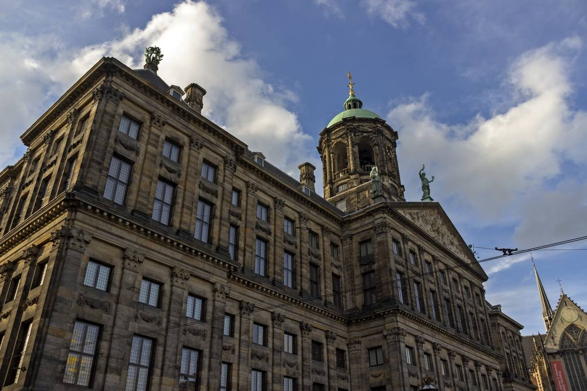 The Royal Palace in Amsterdam is seen.