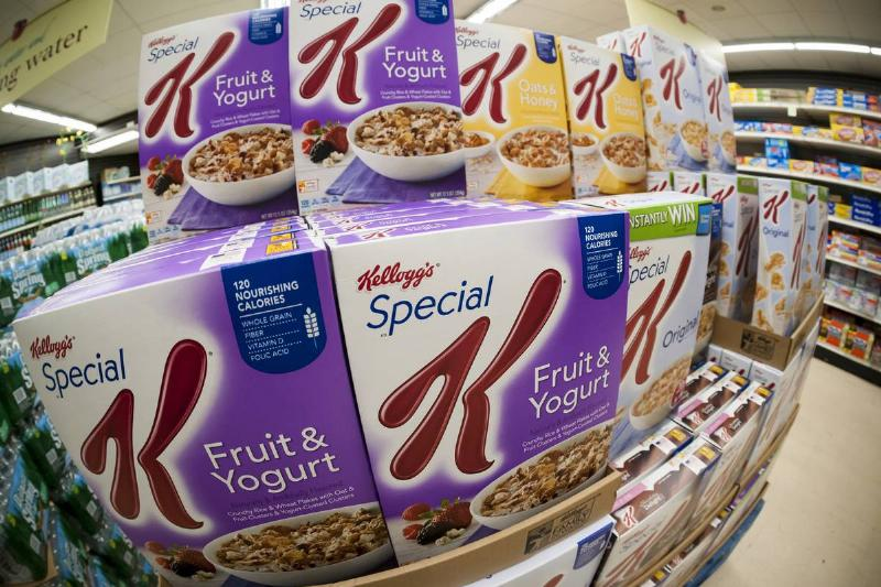 Boxes of Kellogg's Special K breakfast cereal are stacked in a grocery store.