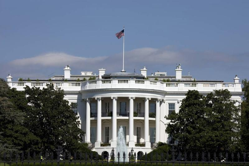 The front of the American White House is seen.