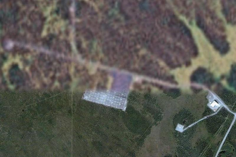 HAARP Site is partially blurred on Google Maps.