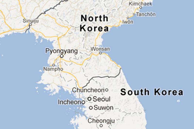 North Korea and South Korea are seen on Google Maps.