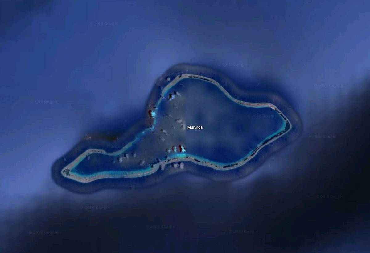 Moruroa Island is partially blurred on Google Maps.
