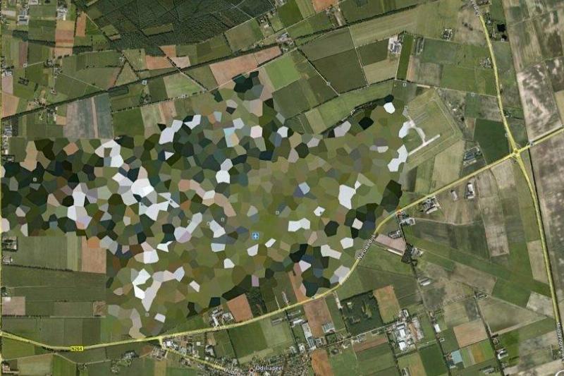 Volkel Air Base is pixelated on Google Maps.