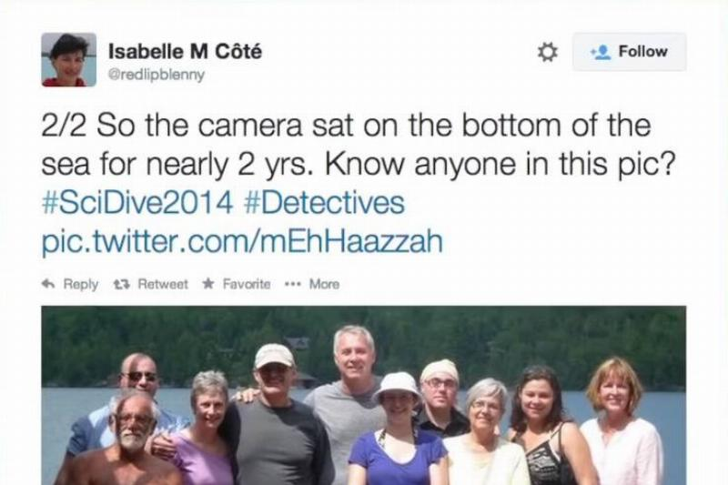 On Twitter, Isabelle Cote asks people if they know who people in a photograph are.