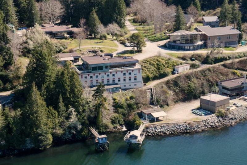 An aerial shot of Bamfield Marine Sciences Centre  in British Columbia is seen.