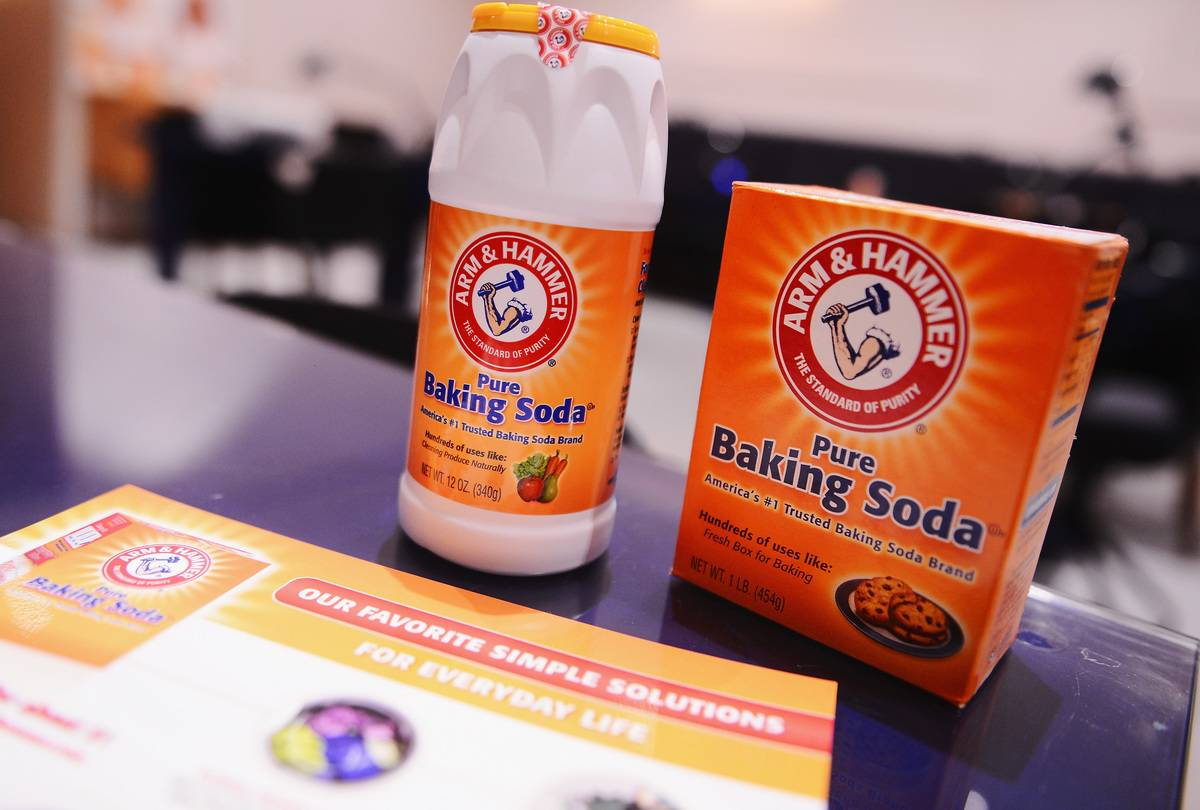 Baking soda containers are seen.