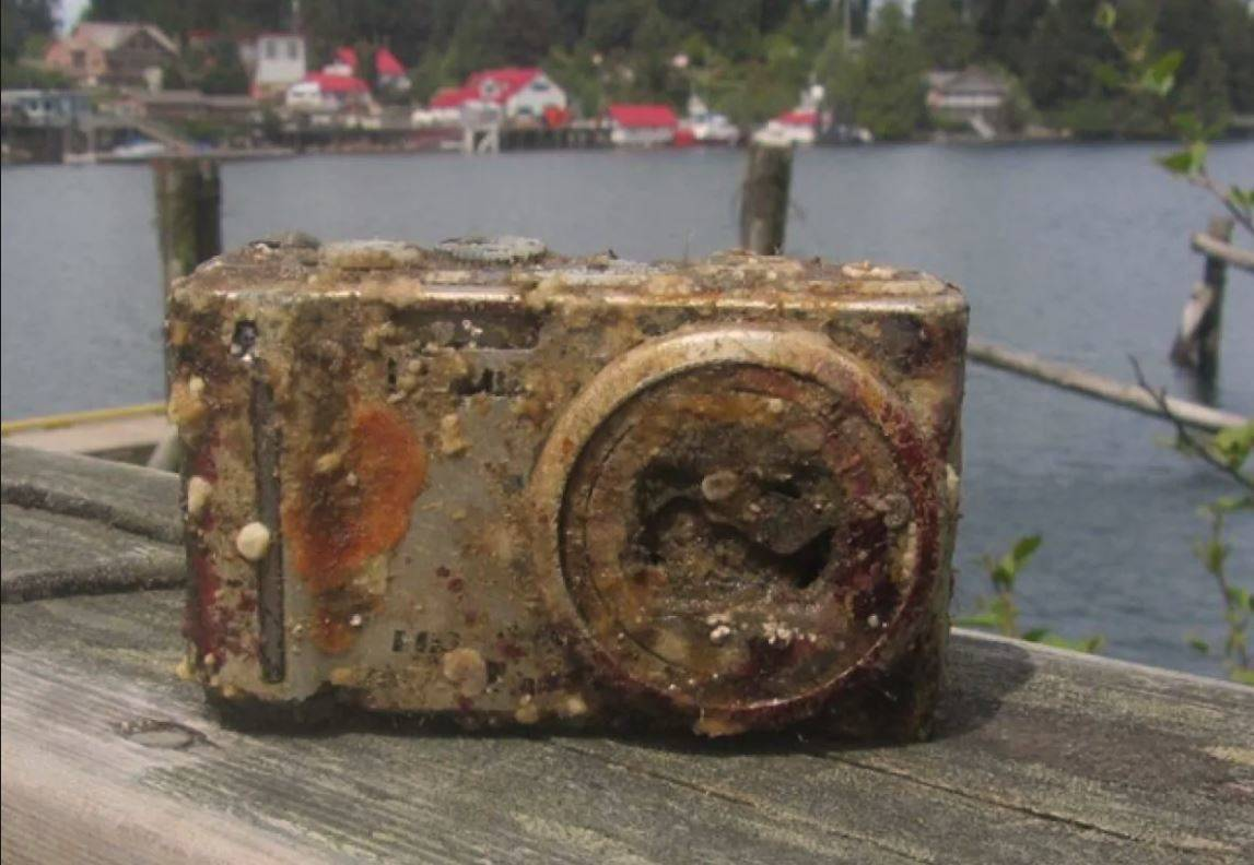 A camera that was under the sea for two years is pictured.