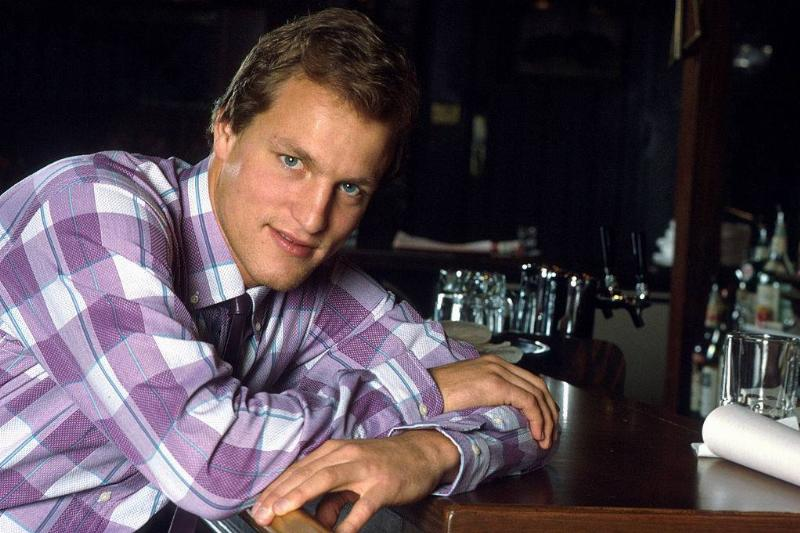 Woody Harrelson on the 'Cheers' television set