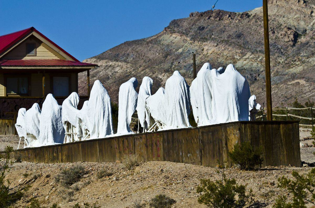The Last Supper sculpture is seen in the ghost town of Rhyolite, NV.