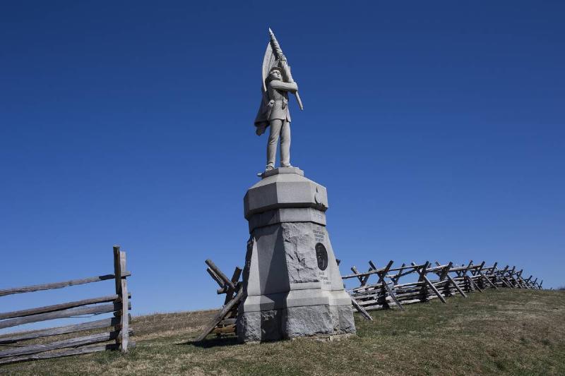 A Civil War statue stands on the sunken road on the Antietam Battlefield.