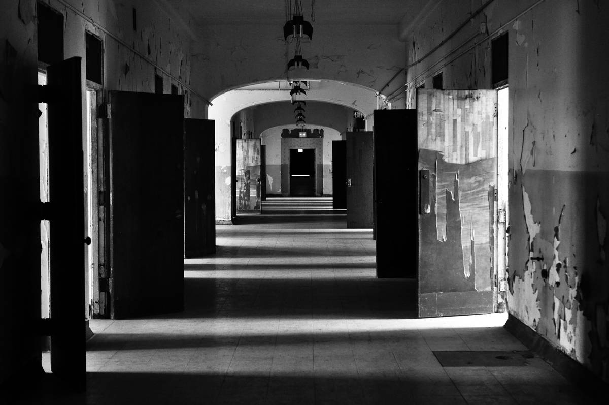 An abandoned hallway is pictured in the Trans-Allegheny Lunatic Asylum.