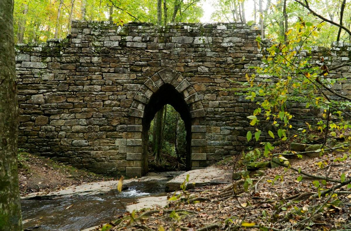 The Poinsett Bridge stands over a creek.