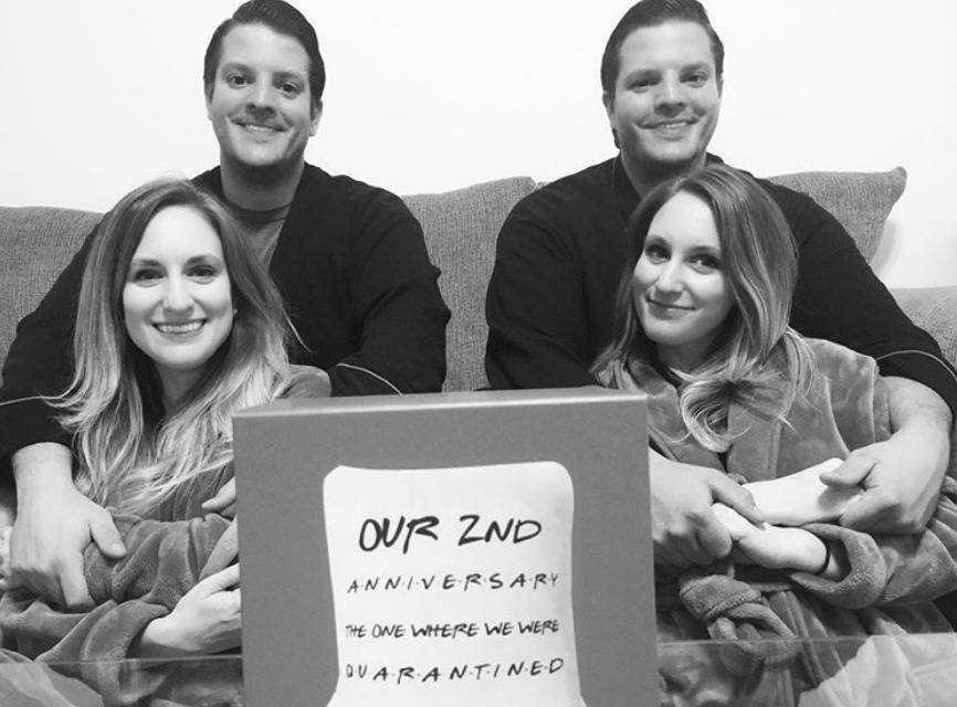 The Salyer couples commemorate their second anniversary with a photo.