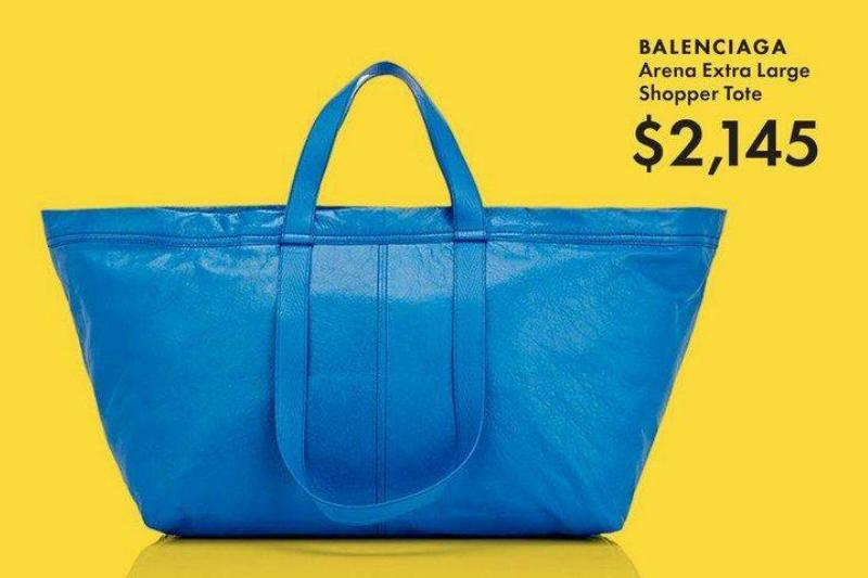 The Balenciaga IKEA-style bag is advertised as costing $2,145.