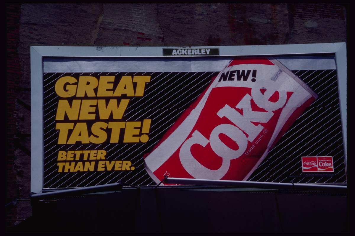 A billboard advertises New Coke in 1985.