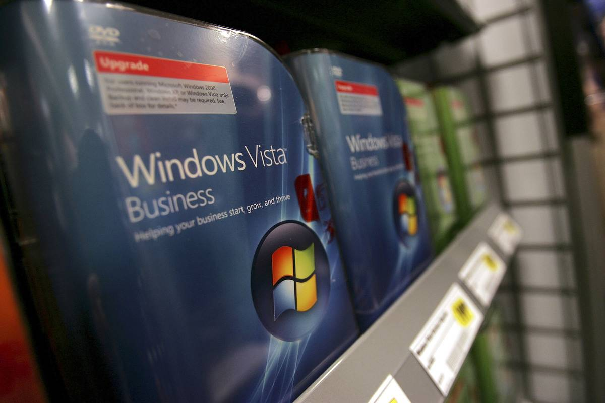 Windows Vista software is on a store shelf for sale.