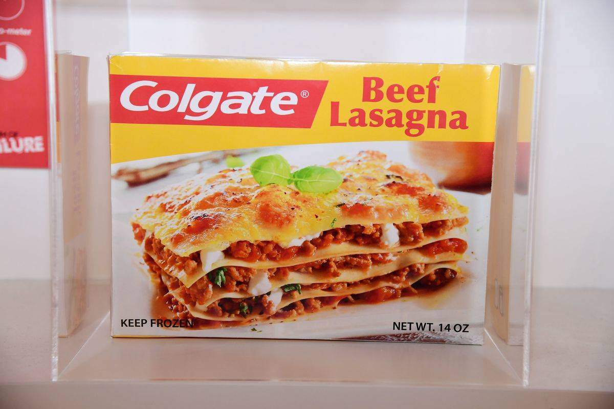 The package of colgate frozen dinner lasagna is on display.