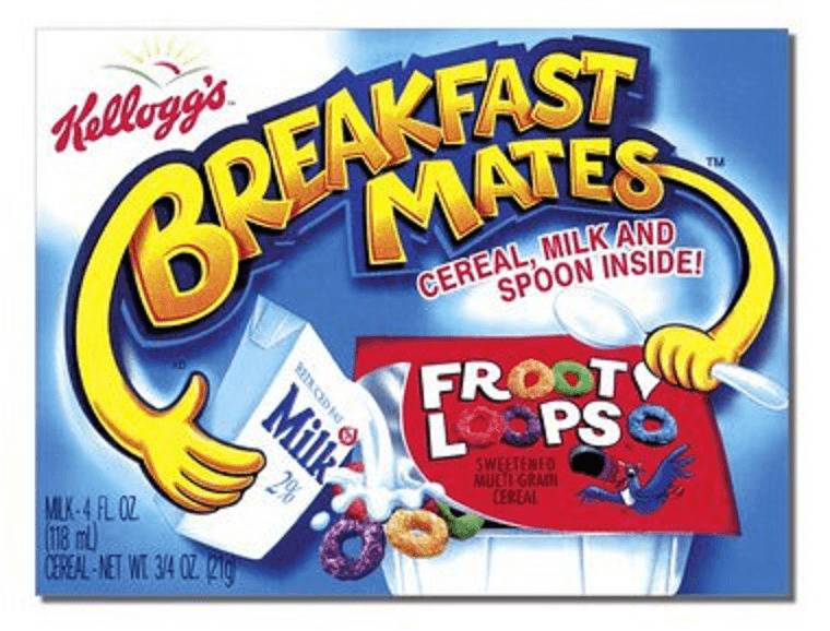 Breakfast Mates, which provides cereal with milk and a spoon, is seen as a package.