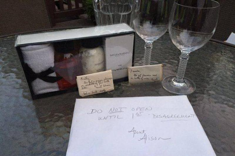 Two wine glasses and a bath kit were in the present.