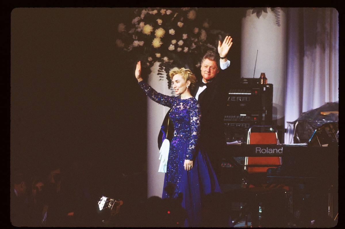 Bill and Hillary Clinton wave at the 1993 inaugural ball.