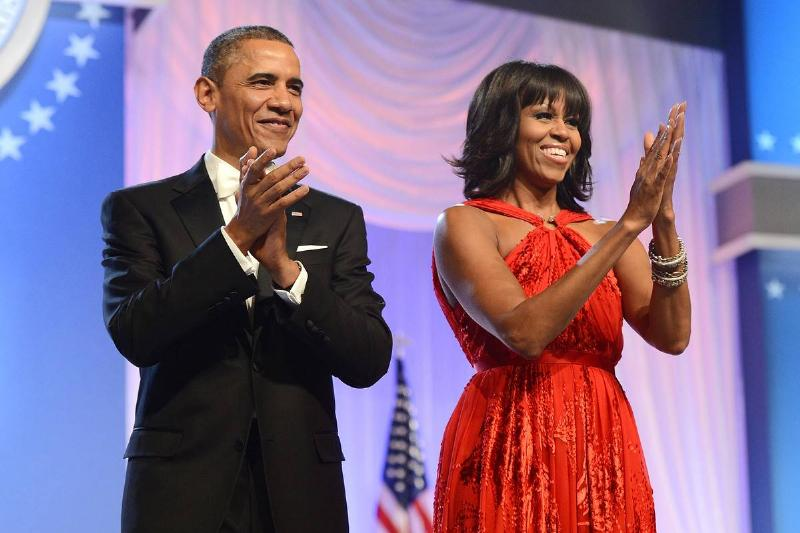 Barack Obama and first lady Michelle Obama arrive together for the 2013 Inaugural Ball.