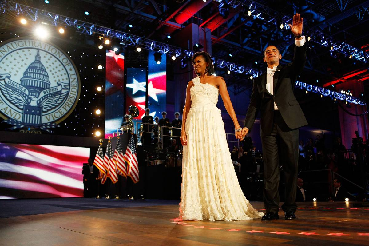 Barak and Michelle Obama attend the 2009 inaugural ball.