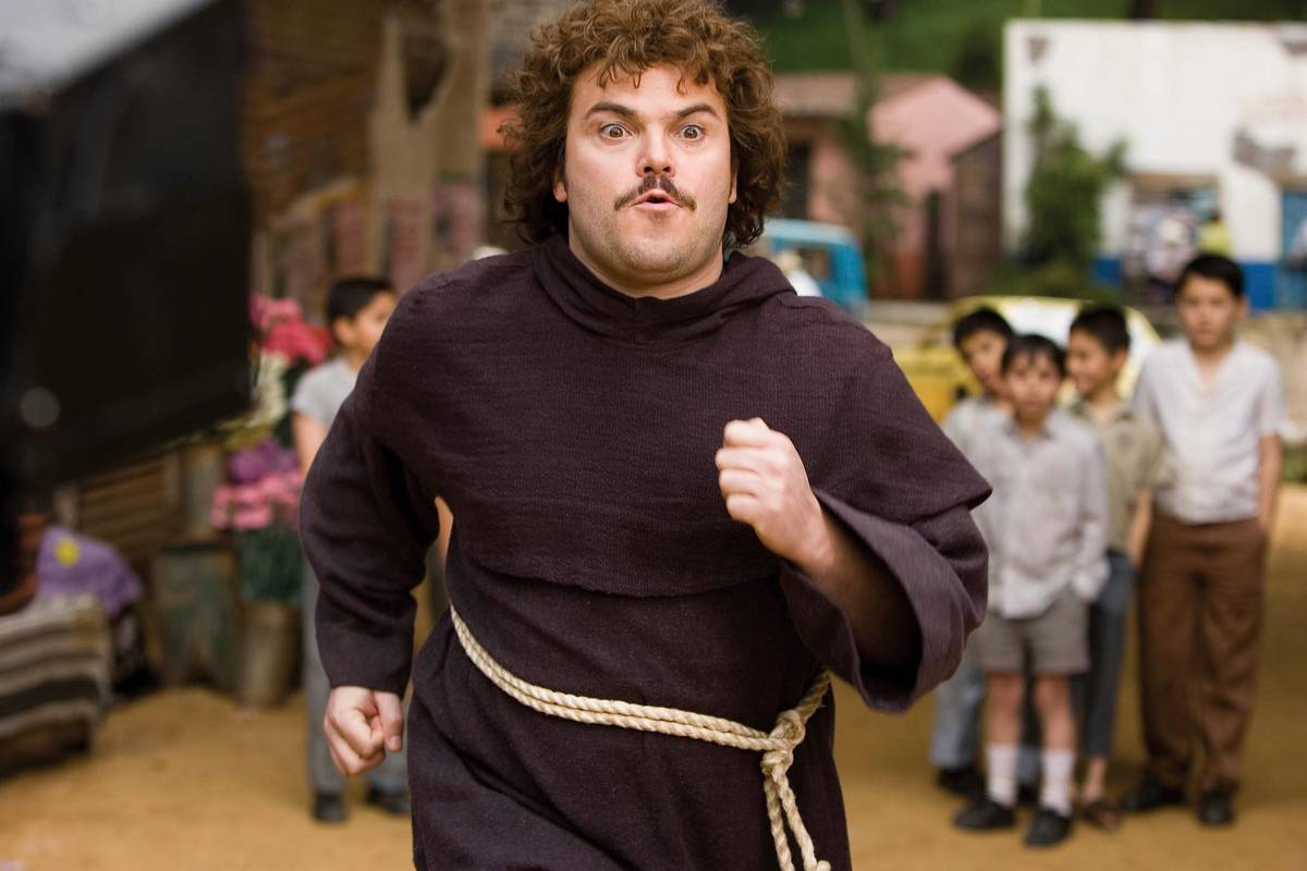 jack black wearing a monk robe in nacho libre