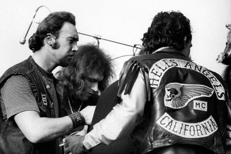 Members of Hells Angels act as concert security, 1969.
