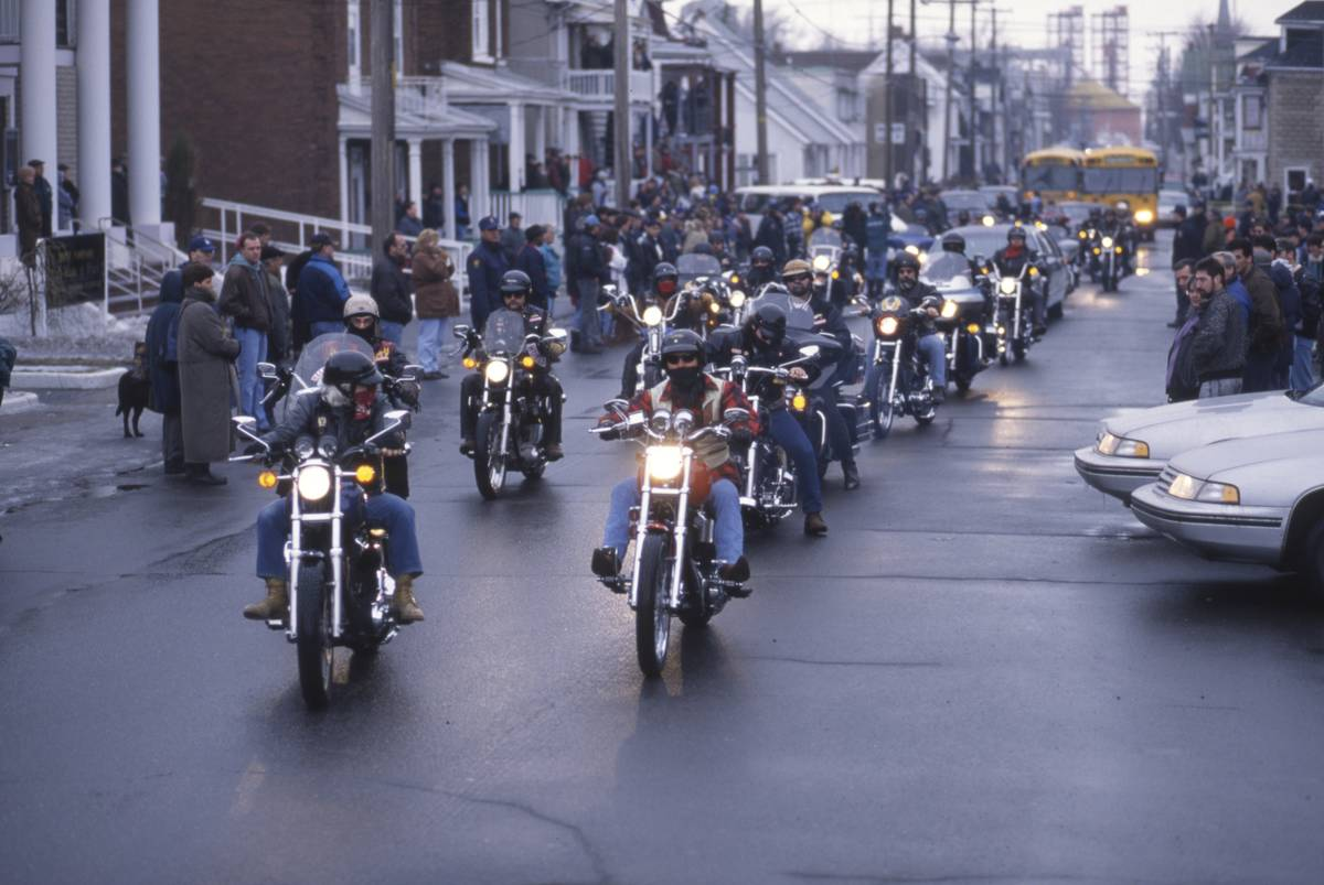 Hells Angels ride through the streets of Montreal.