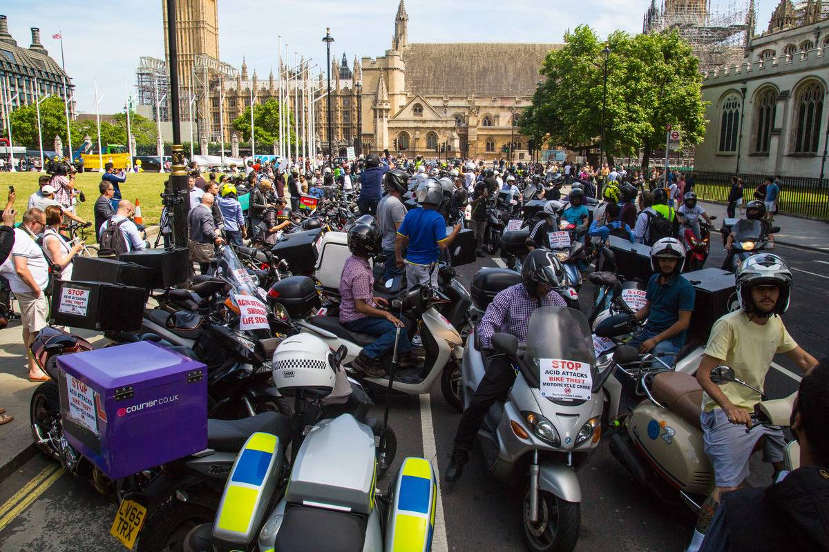 Bikers crowd the streets of London.