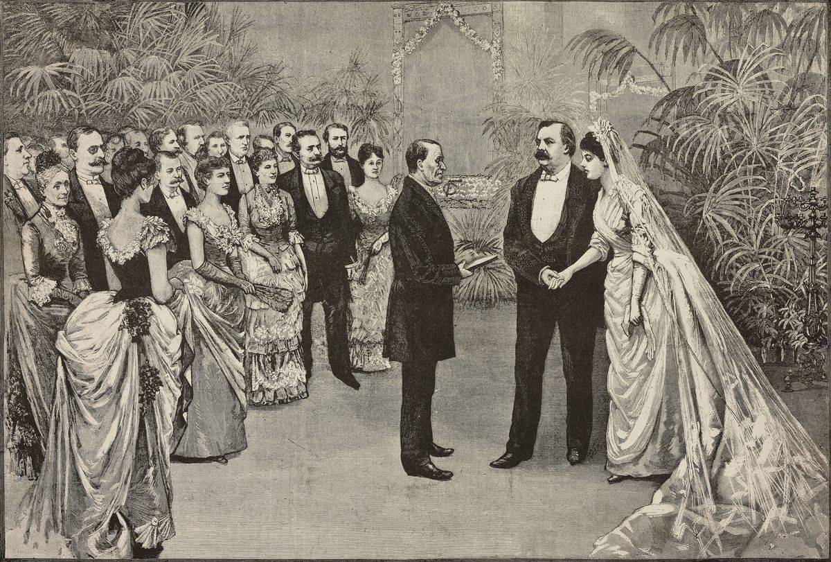 An engraving portrays a wedding from 1886, America.