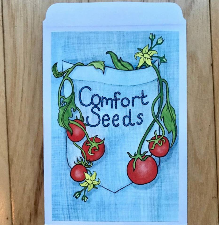 A hand-drawn seed packet holds the Comfort Seeds logo.