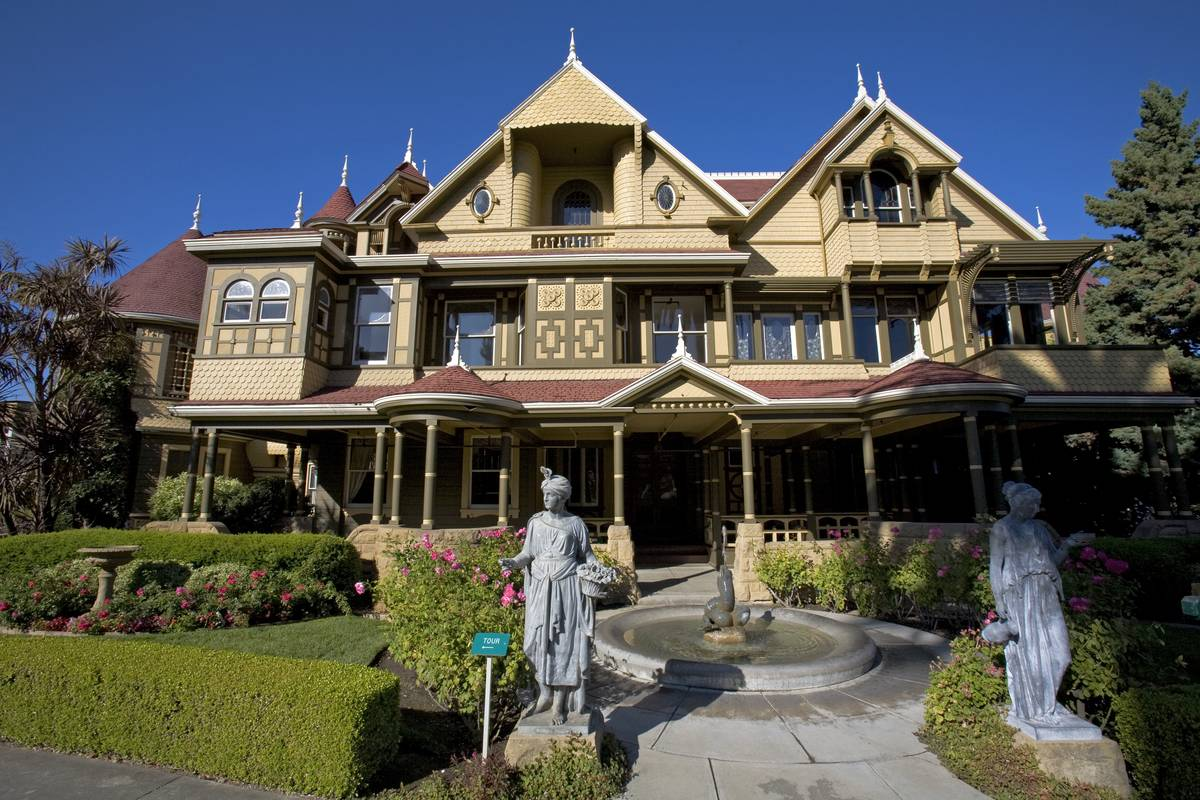 The front of the Winchester Mystery House is seen.