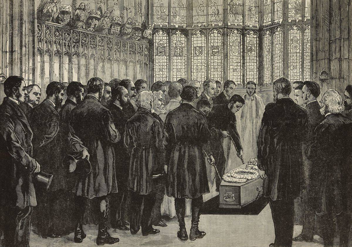 An illustration of a funeral is seen in 1881.