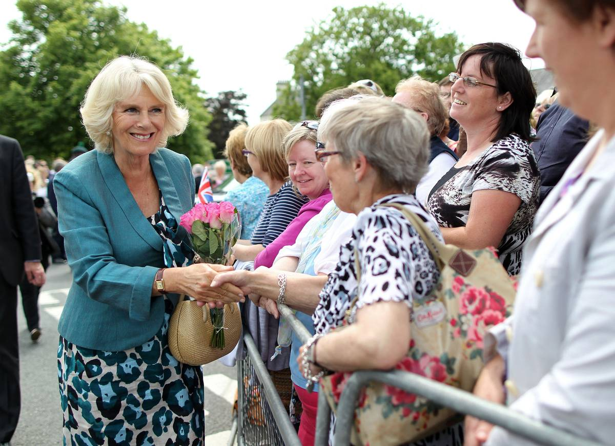 Camilla, Duchess of Cornwall greets local residents as in Northern Ireland.
