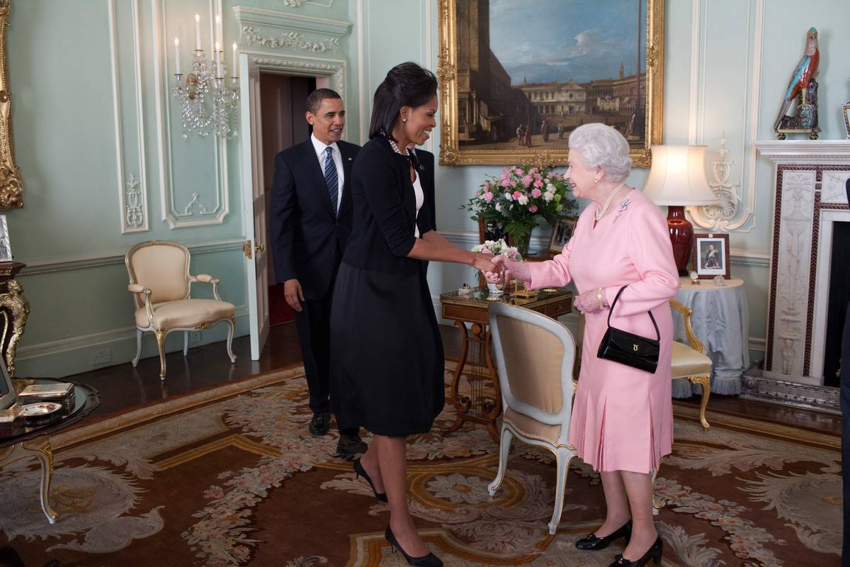 Queen Elizabeth meets Michelle and Barak Obama in the White House.