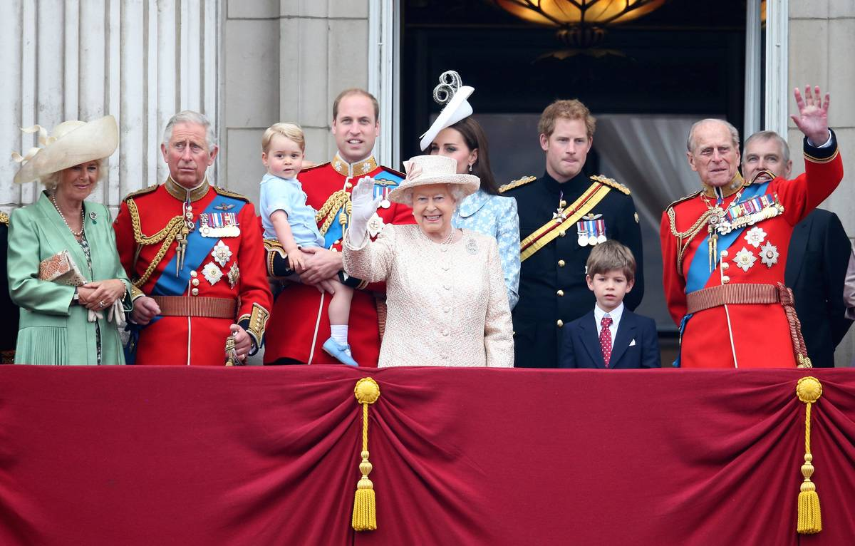 The Royal family watchs the fly-past from the balcony of Buckingham Palace following the Trooping The Colour ceremony.