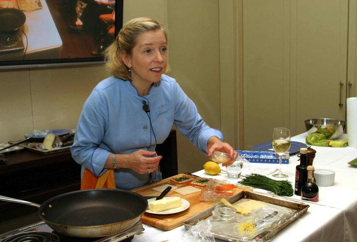 Sara Moulton cooks while being filmed for Food Network.