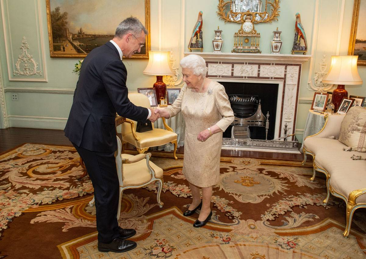 Queen Elizabeth II holds a private audience with Nato Secretary General Jens Stoltenberg in Buckingham Palace.
