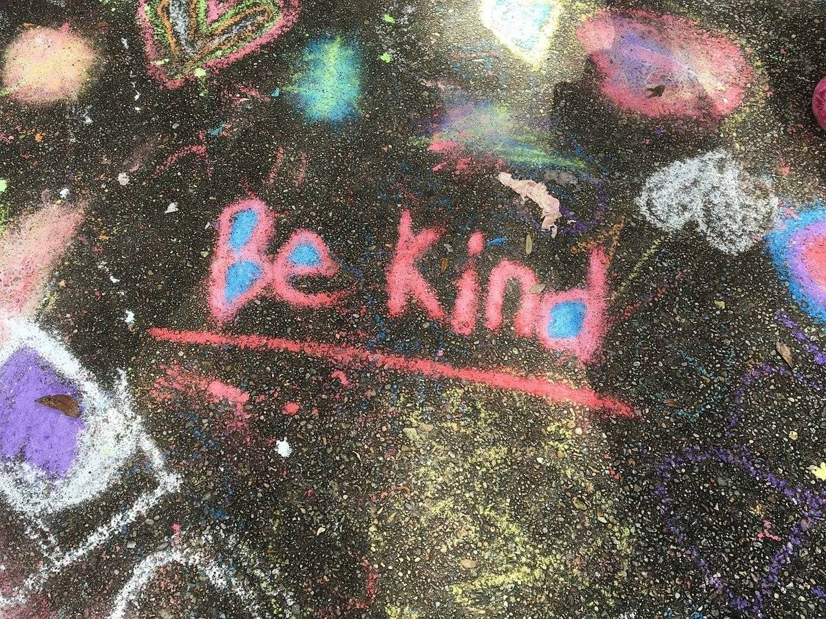 A chalk drawing says