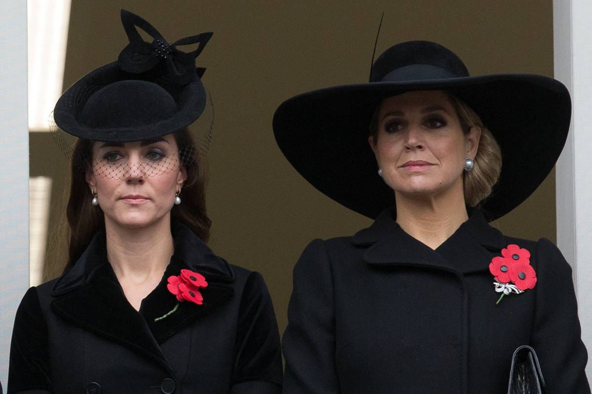 Catherine, Duchess of Cambridge and Queen Maxima of the Netherlands attend the annual Remembrance Sunday.