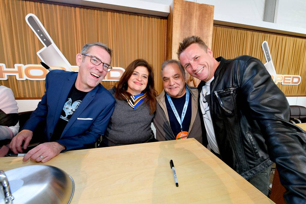 Ted Allen, Chef Alex Guarnaschelli, NYCWFF Founder Lee Brian Schrager and Chef Marc Murphy pose for a photo
