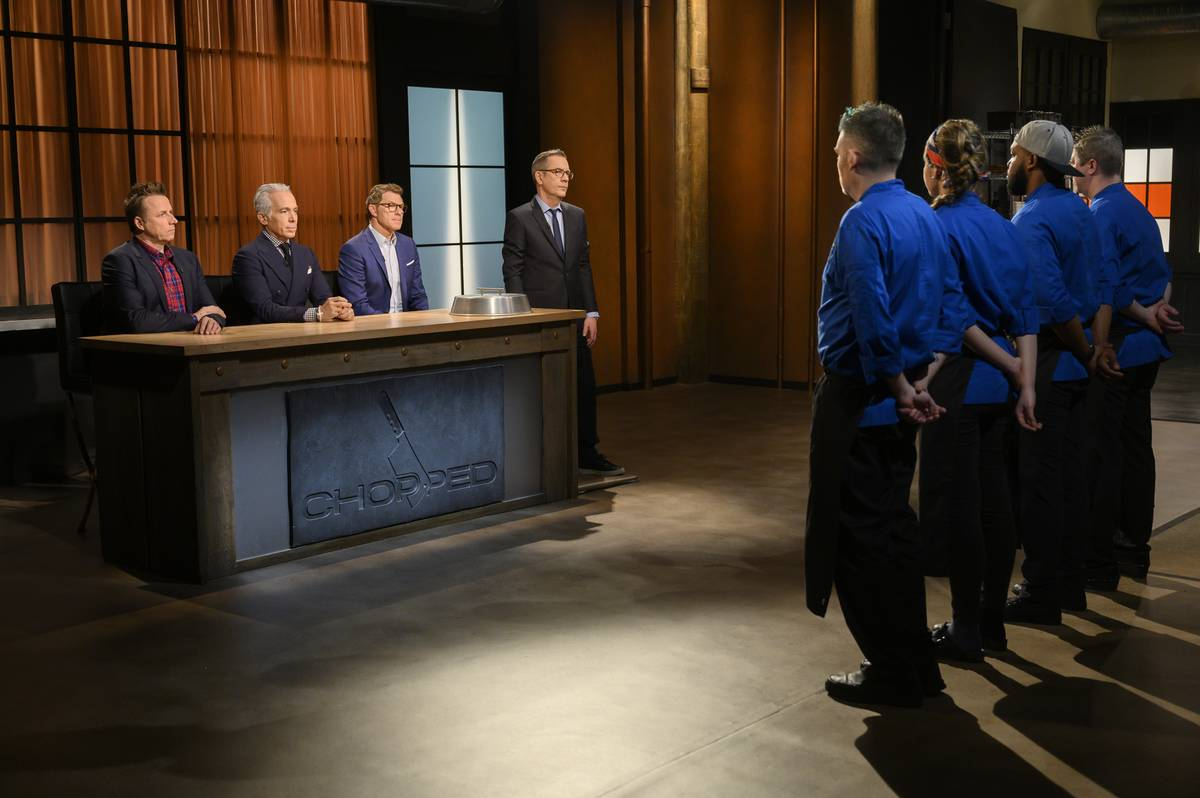 Host Ted Allen with judges Bobby Flay, Geoffrey Zakarian, and Marc Murphy during appetizer round chopping