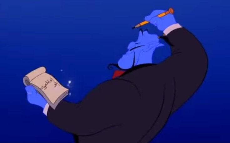 The Genie Writes Left To Right In Aladdin